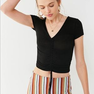 Urban Outfitters Alexa Ruched Top in Black